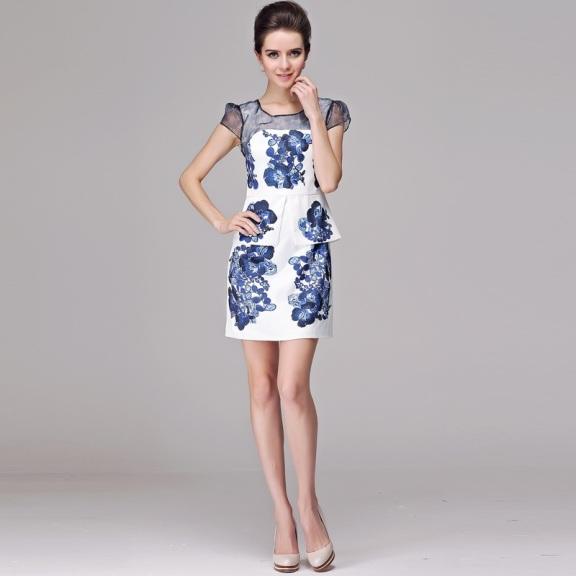 Fashion-women-s-2013-one-piece-dress-blue-and-white-porcelain-print-o-neck-slim-elegant